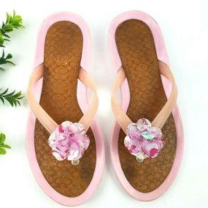 COACH Pink Jelly Flip Flops w/ Beaded Flower   S17